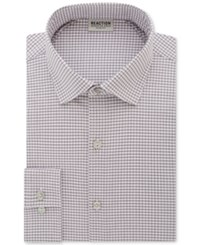 Kenneth Cole Reaction Men's Slim Fit Techni Flex Collar Performance Gray Check Dress Shirt Medium Grey