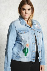 Forever 21 Plus Size Patched Denim Jacket