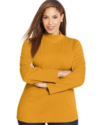 Karen Scott Plus Size Long Sleeve Mock Turtleneck Top Only At Macy's Saffron Gold
