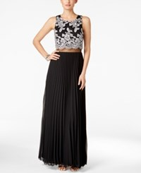 Betsy And Adam Lace Popover Pleated Gown Black Silver