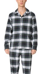 Sleepy Jones Henry Flannel Stewart Plaid Pajama Shirt Navy Green White