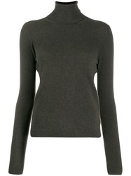 Lamberto Losani Ribbed Roll Neck Jumper Green