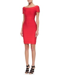 Herve Leger Scalloped Lace Boat Neck Sheath Dress