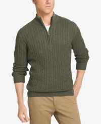 Izod Men's Big And Tall Mock Turtleneck Sweater Kombu Green Heather