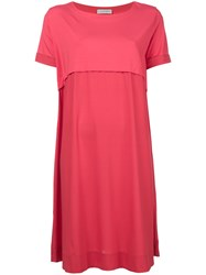 Le Tricot Perugia Layered Shift Dress Pink And Purple