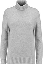 Michael Kors Collection Cashmere And Cotton Blend Turtleneck Sweater Light Gray
