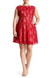 Taylor Lace Fit And Flare Dress Plus Size Red