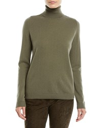 Lafayette 148 New York Metallic Cashmere Pullover Turtleneck Sweater Bay Leaf