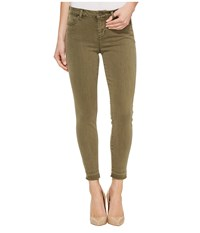 Liverpool Avery Crop Released Hem In Pigment Dyed Slub Stretch Twill In Olive Night Olive Night Women's Jeans Green