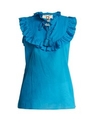 Figue Lila Ruffle Trimmed Cotton Top Blue