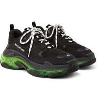 Balenciaga Triple S Clear Sole Mesh Sneakers Black