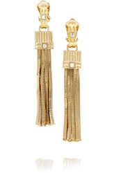 Lanvin Gold Tone Crystal Clip Earrings