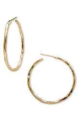 Argentovivo Medium Hammered Hoop Earrings Gold
