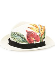 Dolce And Gabbana Anthurium Print Panama Hat White