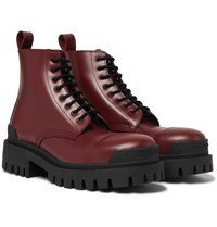 Balenciaga Strike Leather Boots Burgundy