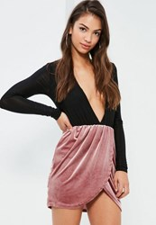 Missguided Pink Velvet Gathered Waist Asymmetric Mini Skirt Rose
