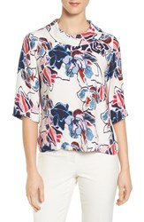 Halogenr Women's Halogen Print Woven Cowl Neck Top Ivory Red Floral