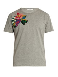Valentino Floral Applique Cotton T Shirt Grey
