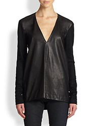 Helmut Lang Jersey Paneled Leather Tee Black