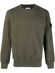 Stone Island Shadow Project Embroidered Concealed Pocket Sweatshirt Green
