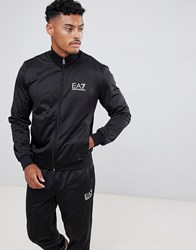 Emporio Armani Ea7 Train Core Id Tricot Zip Thru Logo Tracksuit Set In Black