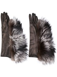 Maison Martin Margiela Fur Trimmed Gloves Brown