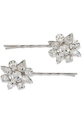 Jennifer Behr Valencia Set Of Two Rhodium Plated Swarovski Crystal Hair Slides Silver