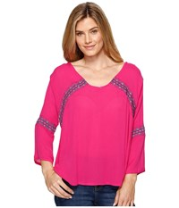 Rock And Roll Cowgirl Bell Sleeve Top B4 1295 Hot Pink Women's Clothing
