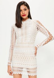 Missguided White Lace High Neck Lace Up Sleeve Bodycon Dress
