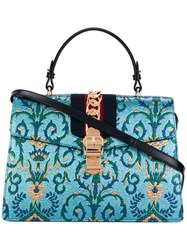 Gucci Sylvie Tote Women Leather Metal One Size Blue