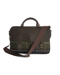 Barbour Brown Tartan Wool And Leather Briefcase