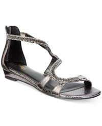 Thalia Sodi Clara Snake Print Detail Wedge Sandals Only At Macy's Women's Shoes Gun Metal Grey