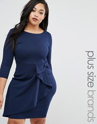 Goddiva Plus Pencil Dress With Frill Detail Navy