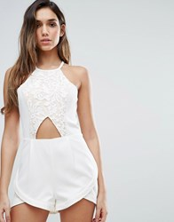 Jarlo Lace Playsuit With Cut Out Detail Cream