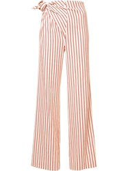 Rosie Assoulin Side Knot Striped Trousers White