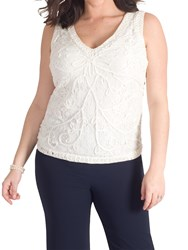 Chesca Cornelli Embroidered Lace Cami White