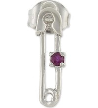 Marc Jacobs Safety Pin Single Stud Earring Red Silver