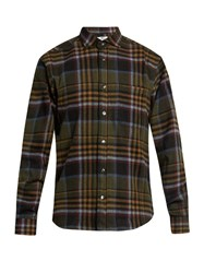 Inis Meain Wool Blend Flannel Shirt Red Multi
