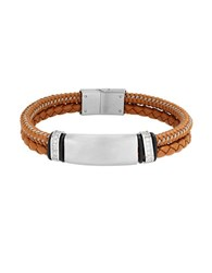 Lord And Taylor Stainless Steel Leather Cord Braided Bracelet