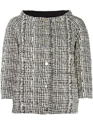 Herno High Neck Plaid Jacket White