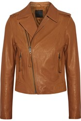 Joie Ailey Leather Biker Jacket Brown