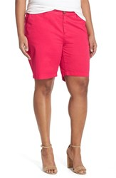 Plus Size Women's Sejour 'Addison' Stretch Twill Bermuda Shorts Red Barberry