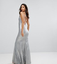 Tfnc Allover Sequin Maxi Dress With Strappy Back Silver