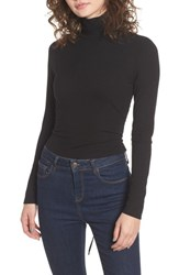 Afrm Women's Mira Lace Up Turtleneck Noir