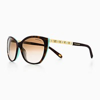 Tiffany And Co. Atlas Cat Eye Sunglasses In Gold Colored Metal Tortoise Acetate. Plastic