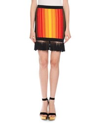 Balmain Sunset Fringe Mini Skirt Red Orange