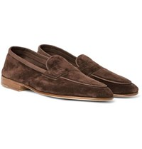 Edward Green Polperro Nubuck Trimmed Suede Penny Loafers Chocolate