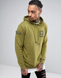Dxpe Chef Hoodie In Khaki With Military Patches Khaki Green