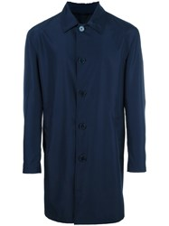 Versace Single Breasted Coat Blue