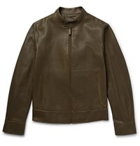 Berluti Suede Trimmed Leather Biker Jacket Army Green